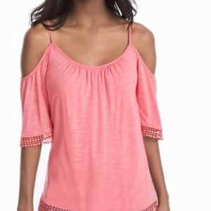 *Sale* WHBM Off-shoulder Coral top